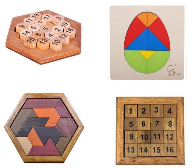 Classic IQ Wooden Board Puzzle Children Educational Math ...