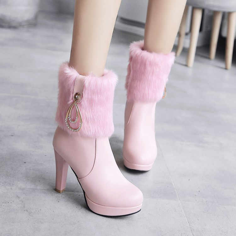 PXELENA New Sweet Bride Wedding Boots Women Faux Fur Crystal Thin High  Heels Ankle Boots Lady 5b825cd65db9
