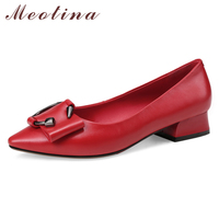 Meotina Ballet Flats Shoes Women Natural Real Leather Flat Boat Shoes Genuine Leather Pointed Toe Shoes Lady Red Plus Size 34 43