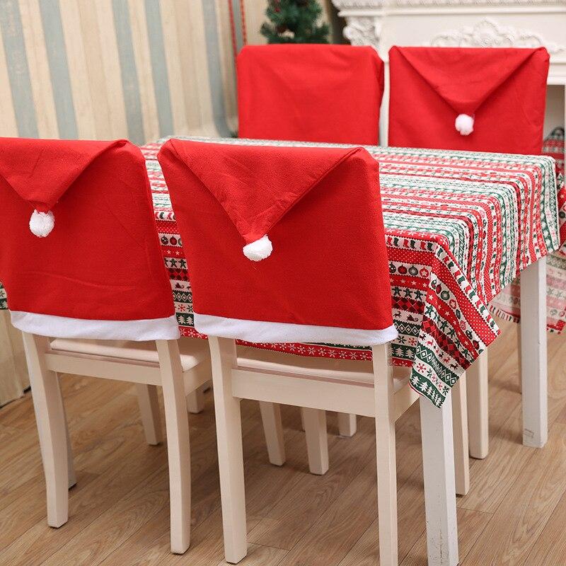 2019 Weihnachtsmann Kappe Stuhlabdeckung Weihnachten Tisch Party Red - Partyartikel und Dekoration - Foto 4