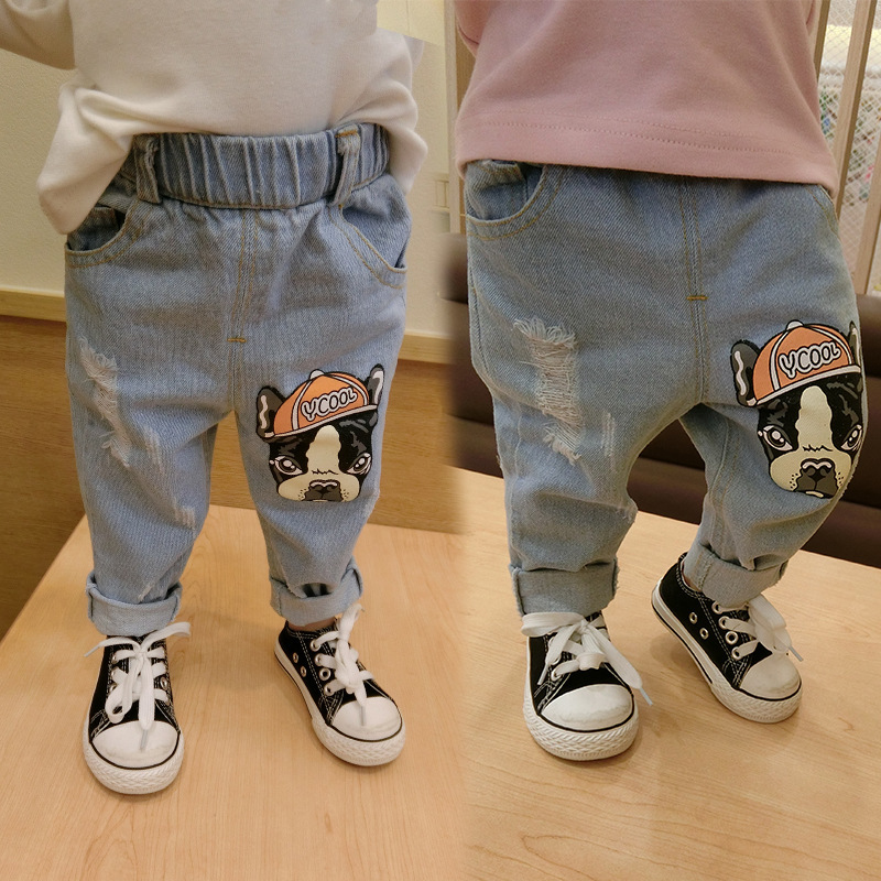 Spring Baby Clothing Boys Girls Denim Jeans Dog Paiting Pants Autumn Trousers Black Harem Pants For Little Child WUA880602