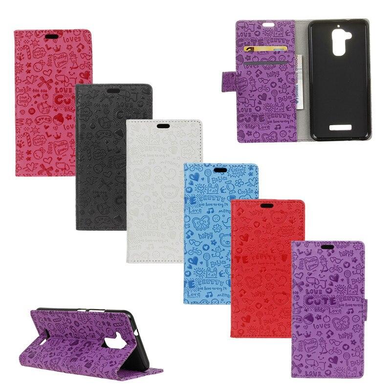 1aba678482ca Мультфильм телефон мешок для Asus Zenfone 3 Max ZC520TL граффити кожаный  бумажник Защитный чехол для ASUS Max ZC520TL случае карты держатель