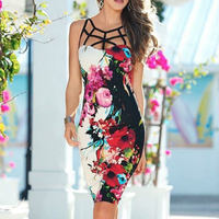 Pencil Dress Floral Print Cage Straps Two Sides Printed Beautiful Mode Femme Printemps 2017 Bodycon Fashionable