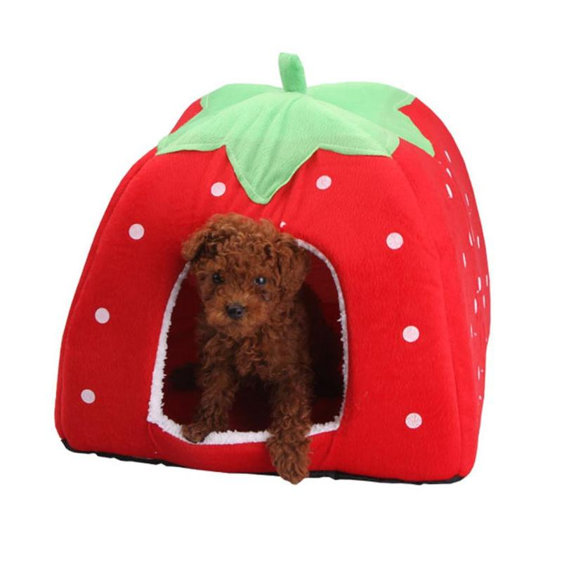 Soft Strawberry Pet Dog Cat House Comfortable Kennel Doggy Foldable Fashion Cushion Basket Cute Animal Cave Pet Products #5