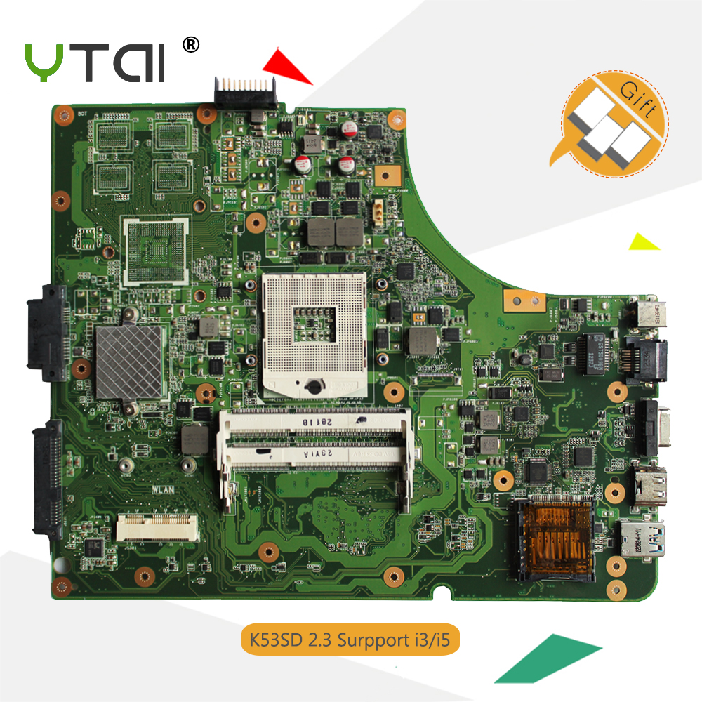 YTAI K53SD motherboard for ASUS K53E P53E K53SD laptop motherboard USB3.0 REV:2.3 HM65 DDR3 mainboard 100% working! k53sd rev 2 3 k53e motherboard for asus laptop 100