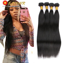 4 Bundles Unprocessed Virgin Brazilian Straight Human Hair Weaving 8A Black 100g