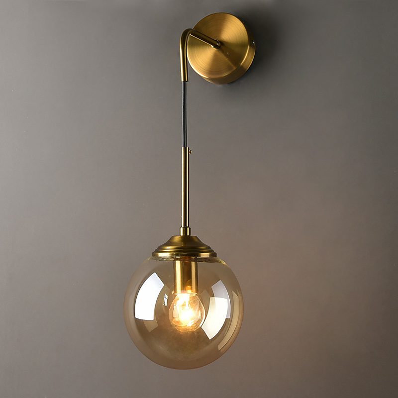 LukLoy Bedside Wall Light Vintage Glass Ball Wall Lamps Industrial LED Wall Sconce Lights for Living Room Aisle Light Fixtures title=