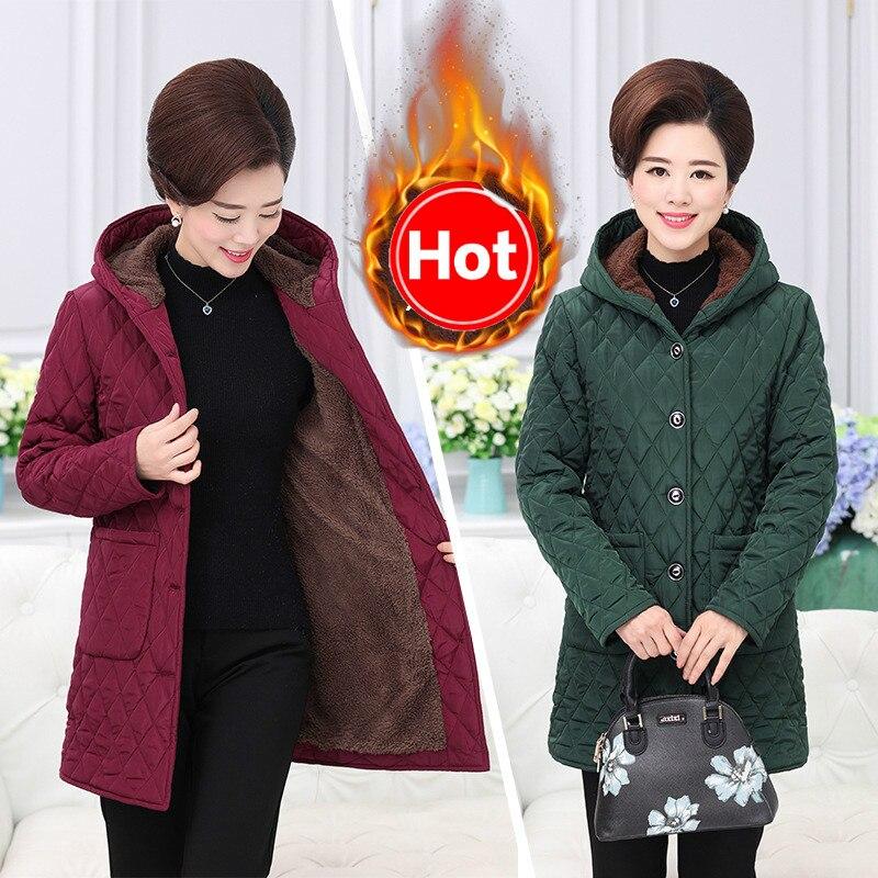 Vestes d'hiver femmes mère vêtements coton plus velours léger coton costume moyen et ancien femme grande taille coton veste