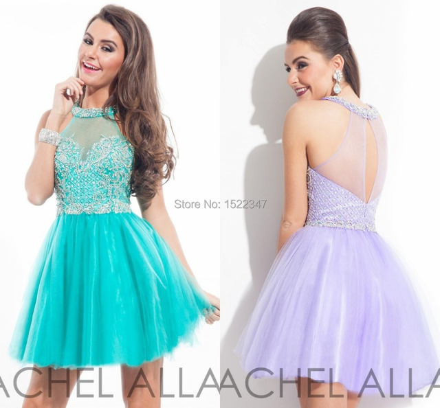 0a78b42877 Bling Bling Crew Turquoise Purple Pearls Beads 2015 Cocktail Dresses for Girls  Semi Formal Homecoming Dress Tulle QE397
