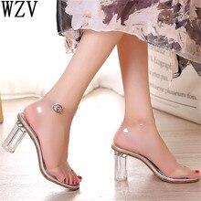 Летние прозрачные туфли-лодочки из пвх; женские босоножки; Каблук из плексигласа; женские туфли на высоком каблуке с открытым носком; вечерние женские туфли-лодочки; H77