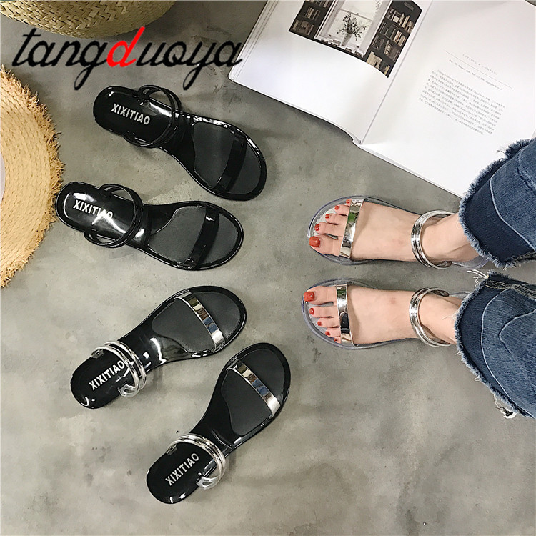 Summer antiskid jelly sandals women narrow band two ways wear sandalias female silver band slip on slippers girls beach sandaliaSummer antiskid jelly sandals women narrow band two ways wear sandalias female silver band slip on slippers girls beach sandalia