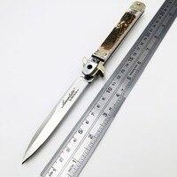 Padrinho italiano faca dobrável d2 lâmina natural antler lidar com facas de bolso sobrevivência caça tático rapidamente aberto ferramentas edc