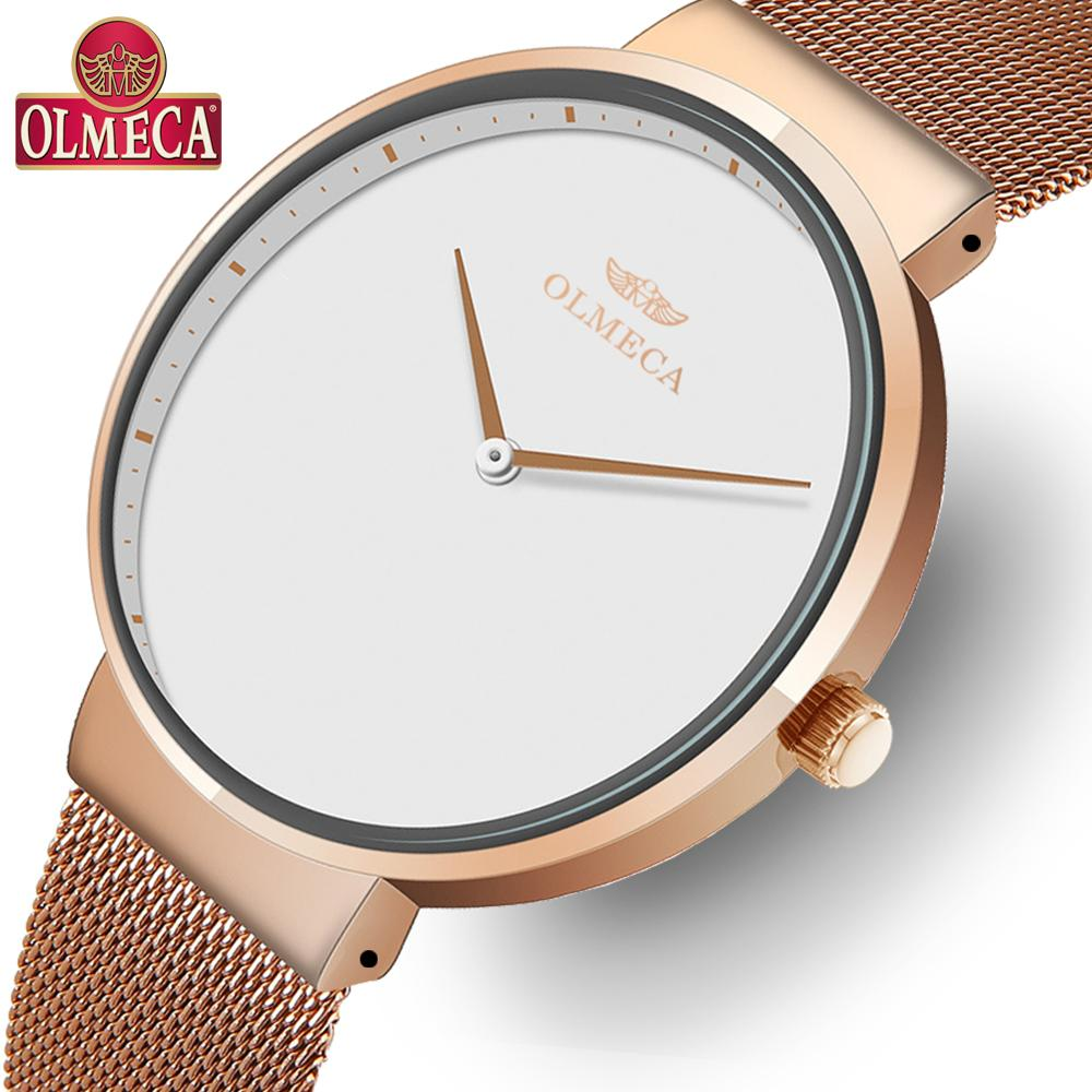 OLMECA Top Brand Luxury Women's Watches Fashion Dress Casual Wrist Watch Simple Dial Waterproof Relogio Feminino Mesh Band