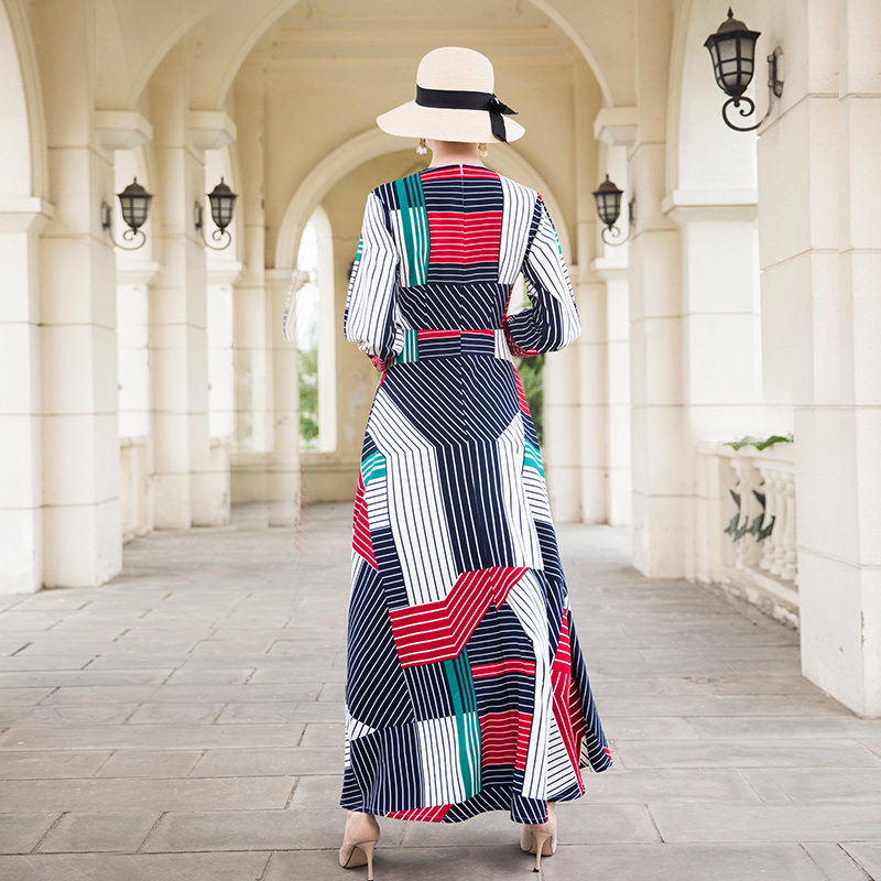 De 9045 Wrish Automne Manches Longue Luxe Robes Soirée Rayé Longueur Pleine Parti Robe Maxi Df 2018 EqC1E