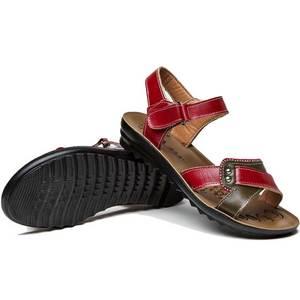 Image 5 - Женские сандалии из натуральной кожи на плоской подошве, летние шлепанцы на липучке, пляжная обувь, модные красные сандалии