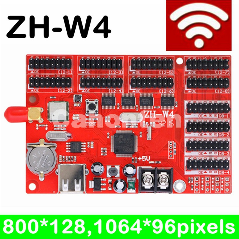 ZH-W4 led wifi controller card 800*128 pixels with USB port for p10,P13.33,P16,F3.75 led moving programble sign fk hx5 network usb serial port large size led controller 2048 512 4096 256 pixels support led moving display sign control card