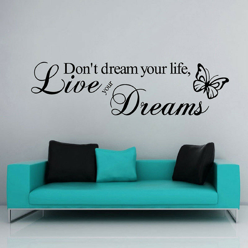 Hot Sale Dream Decals Removable PVC Wall Sticker Quotes Dont Your Life Live Dreams For Living Room 3Q21