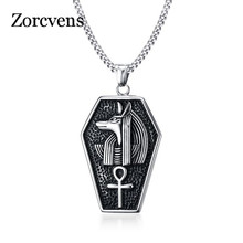 ZORCVENS Stainless Steel Mystical Egypt Coffin Amulet Anubis Ankh Pendant Necklace Vintage Collares Collier Men Jewelry