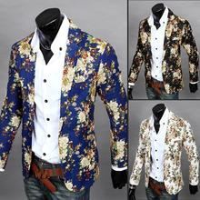 2014 Hot Sale Causal Single Button Cotton Floral Suits Mens Linen Leisure Jackets Sharp Teens Blazers Coats Free Shipping