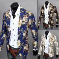 2014 hot sale causal ternos único botão floral de algodão de linho dos homens de lazer jaquetas sharp adolescentes blazers casacos frete grátis