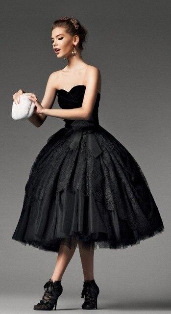 Vintage Schwarz Gothic Kurz Tee Länge ballkleid Brautkleider Kleider ...