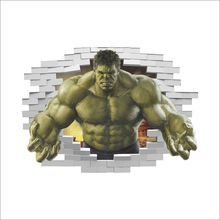 Marvel Super Hero Avengers The Incredible Hulk Through Wall Stickers For Kids Rooms Home Decor 3D Effect Broken Wall Art Decals цена и фото