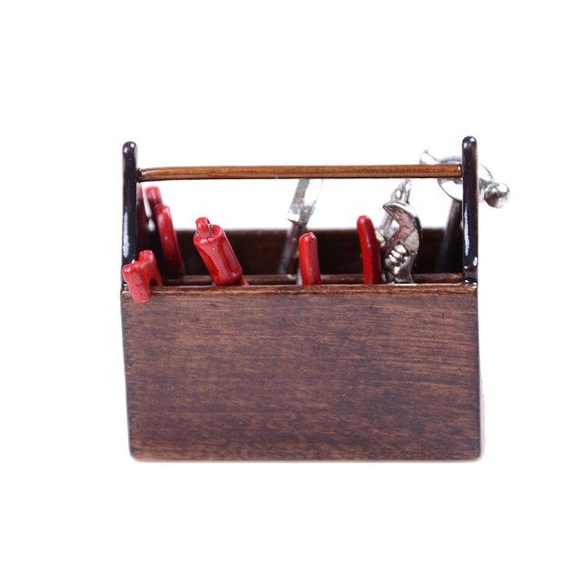 Wooden Toolbox With Metal Tools Set Furniture Toys 112 Repair Kits