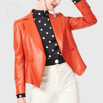 Las mujeres primavera otoño orange gris negro de cuero genuino de calidad superior de cuero de piel de cordero Chaqueta de traje de piel elegante, casaco feminino ropa LT2703
