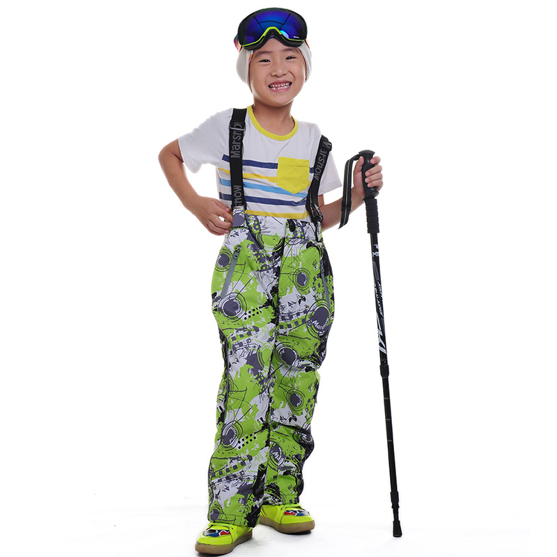 Dropshipping Winter Children trousers Leggings Hot Sale Outdoor Windproof Strap Jumpsuit Warm Ski waterproof pants for children