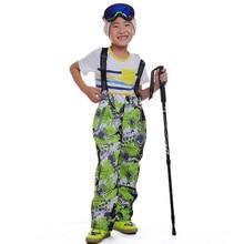 Dropshipping Winter Children trousers Leggings Hot Sale Outdoor Windproof Strap Jumpsuit Warm Ski waterproof pants for children