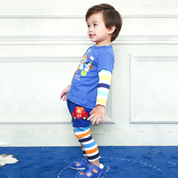 Miki Baby Boy Girl Patchwork Long Pants 2018 Hot Sale Bottoms Fashion Design Cute Pattern Stripped Boy Trousers Outfit