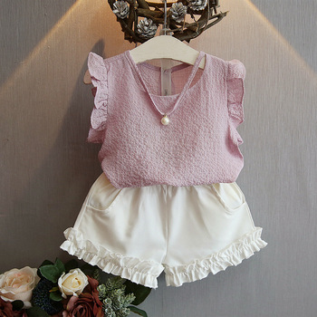 2018 Summer girls sets knitwear chiffon sleeveless lace collar patchwork vest tops+short pants children's clothes sets 2-7 YEAR Tops & Tees