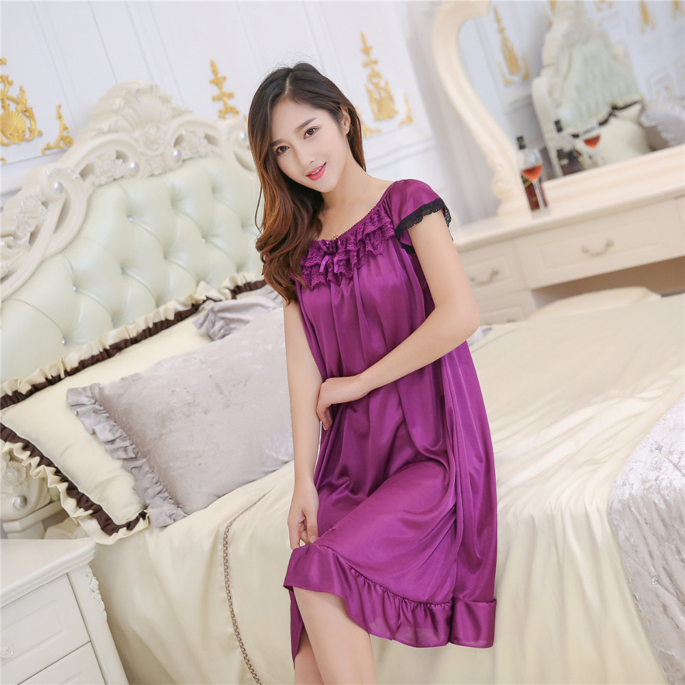 Women sleepshirts new summer ice silk nightgown multicolor female sexy silk skirt Home Furnishing lengthened sling sleepdress