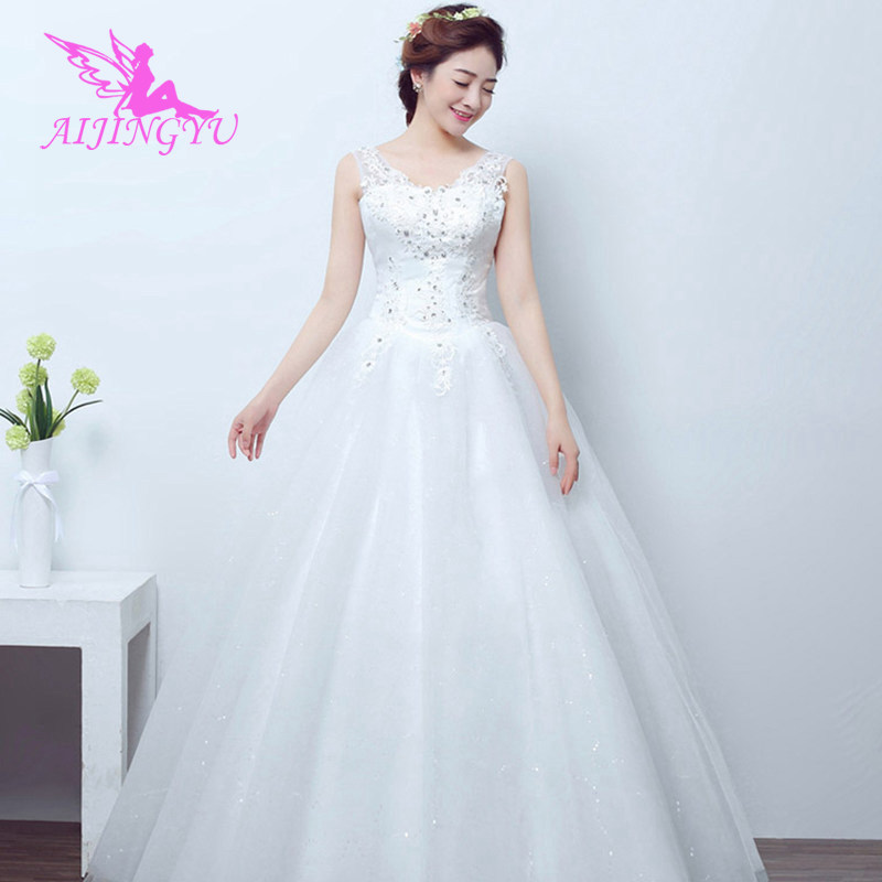 AIJINGYU 2018 white free shipping new hot selling cheap ball gown lace up back formal bride dresses wedding dress FU175