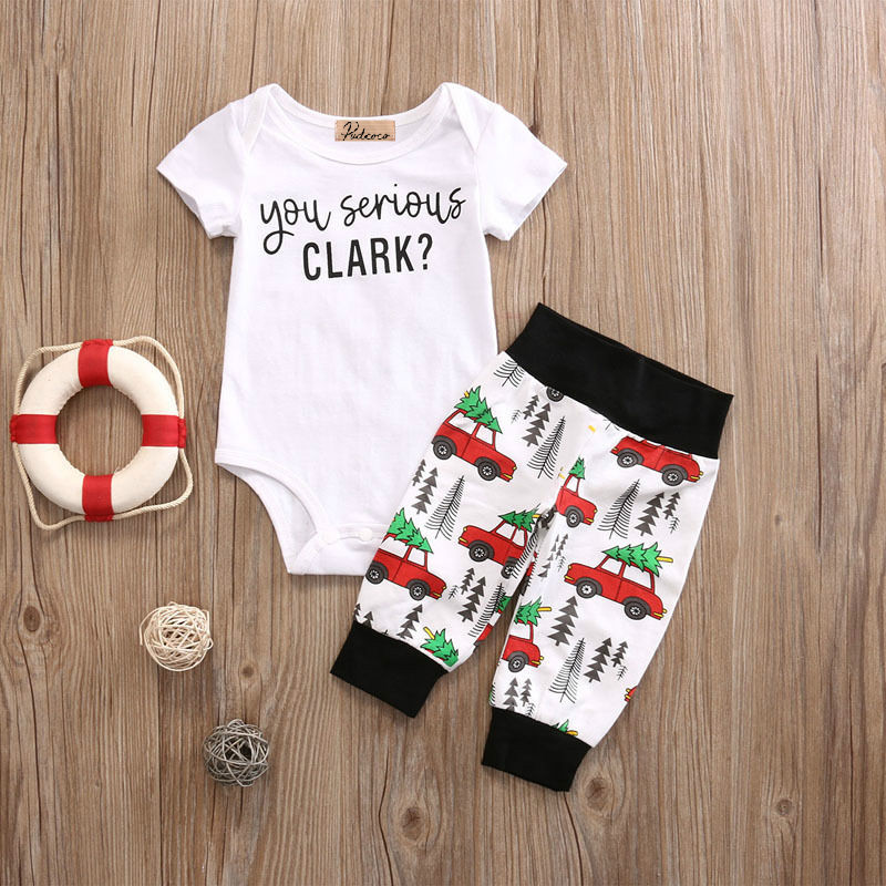 Infant Baby Boy Girl 2pcs Clothes Set Kids Short Sleeve You Serious Clark Letters Romper Tops Car Print Pants 2PCS Outfit Set 2pcs set baby clothes set boy