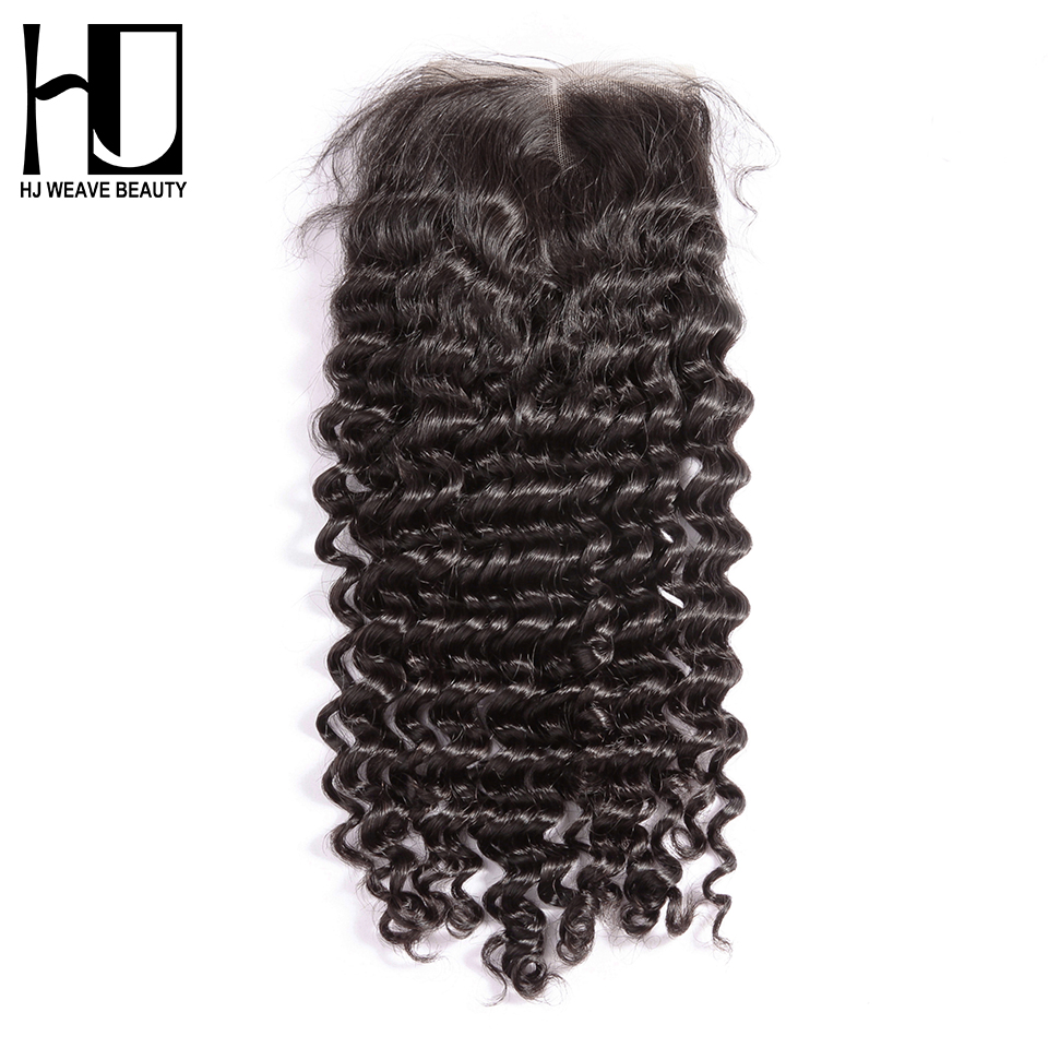 HJ WEAVE BEAUTY Peruvian Lace Closure Deep Wave Remy Hair 4 x 4 100 Human Hair