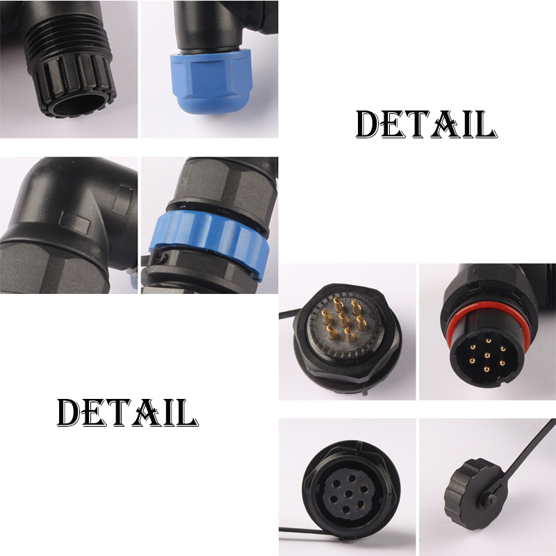 Waterproof Connector SP20 IP68 Cable Wire Connector Plug Socket Male And Female 2 3 4 5 7 9 10 12 14 Pin SD20 20mm Elbow nut in Connectors from Lights Lighting