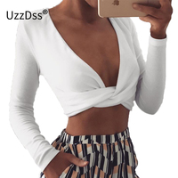 UZZDSS Deep v neck sexy knot cool blouse shirt women Long sleeve slim crop top 2017 Autumn white blouse blusas Cross Bandage Top