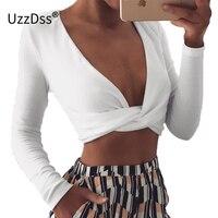UZZDSS Profunda pescoço v sexy nó blusa legal camisa Longa das mulheres top safra 2017 Outono fino de manga comprida blusa branca blusas Cruz Bandagem Top