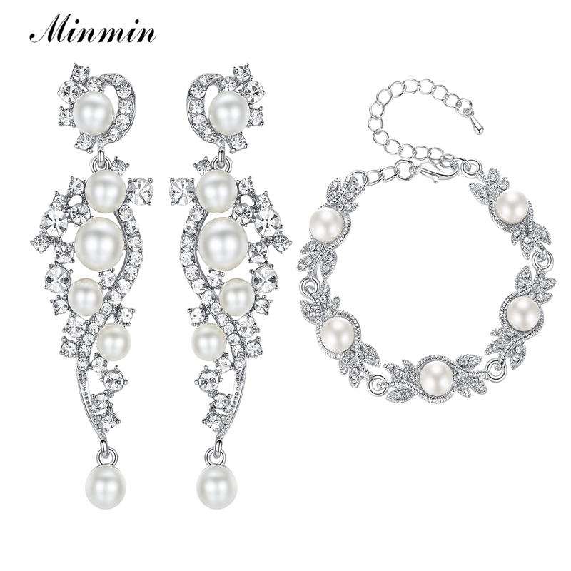 Minmin Simulated Pearl Bridal Jewelry Sets Silver Crystal Bracelet Earrings Sets 2019 Wedding Jewelry Accessories MEH777+MSL197