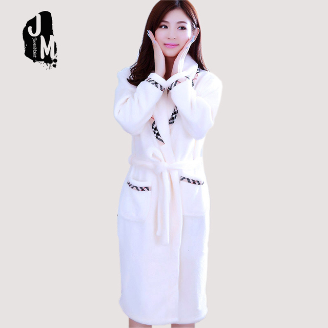 Women Coral Fleece Bathrobes Lady Warm Winter Robes White Red Pajama Thick  Solid Long Robe Lounge Warm Robes Dressing Gowns 95c974891