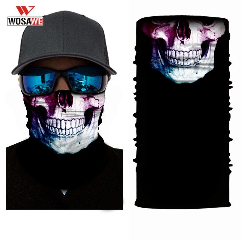 WOSAWE Motorcycle Bandana Balaclava 3D Face Shied Skull Mask Balaklava Hip Hop Mascara Motocicleta Head Scarf Snowboard Ski Mask