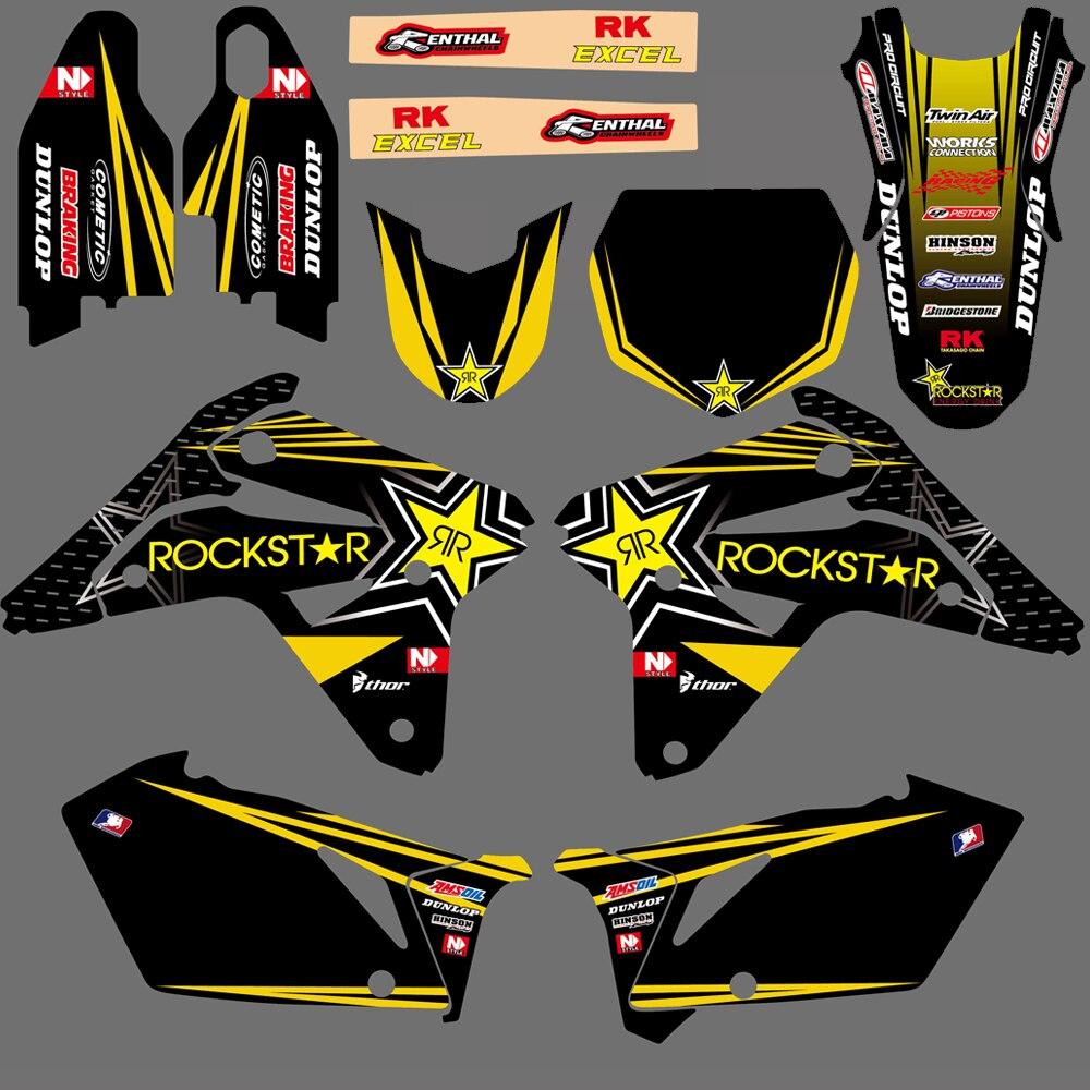 NICECNC 7 Styles Matching Motorcycle Graphic Background Decals Stickers Kit For Suzuki RMZ450 RMZ 450 RM