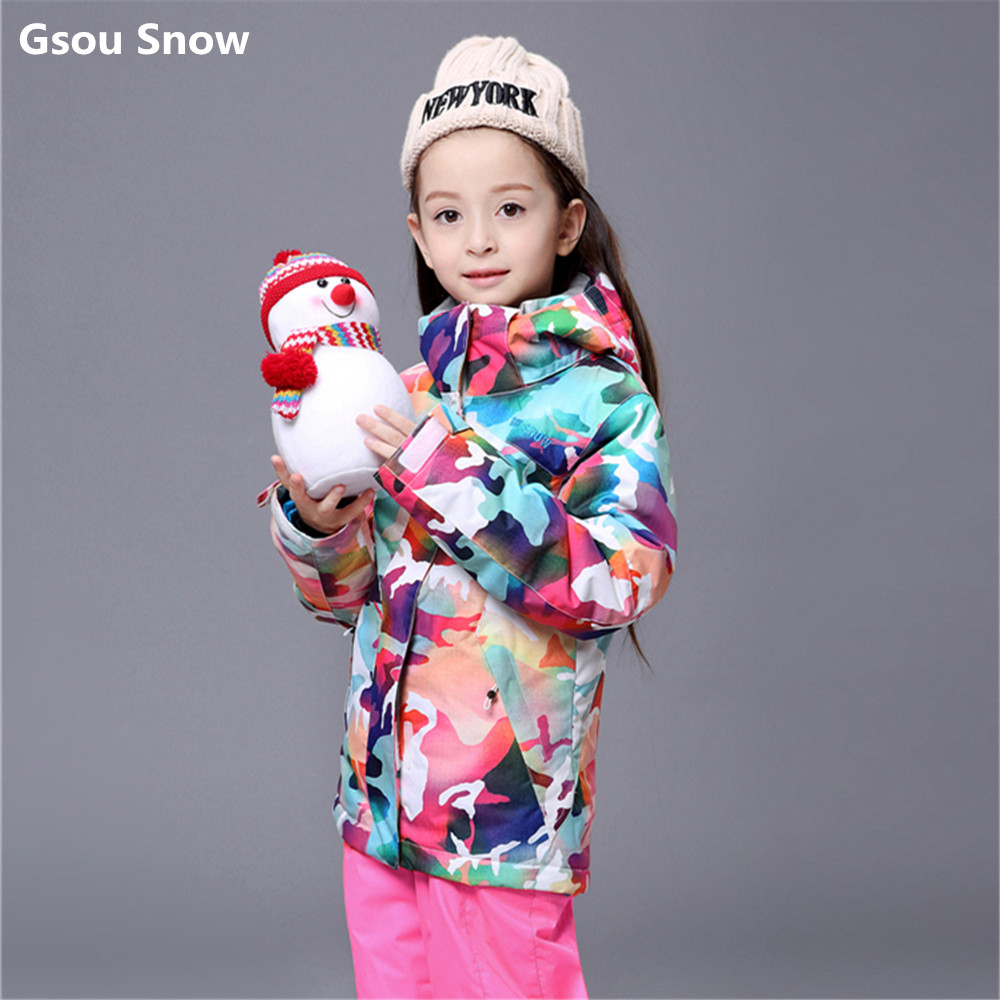 Gsou Snow kids ski suit girls colorful snowboard jacket large girl camouflage children warm winter coat waterproof brand gsou snow technology fabrics women ski suit snowboarding ski jacket women skiing jacket suit jaquetas feminina girls ski