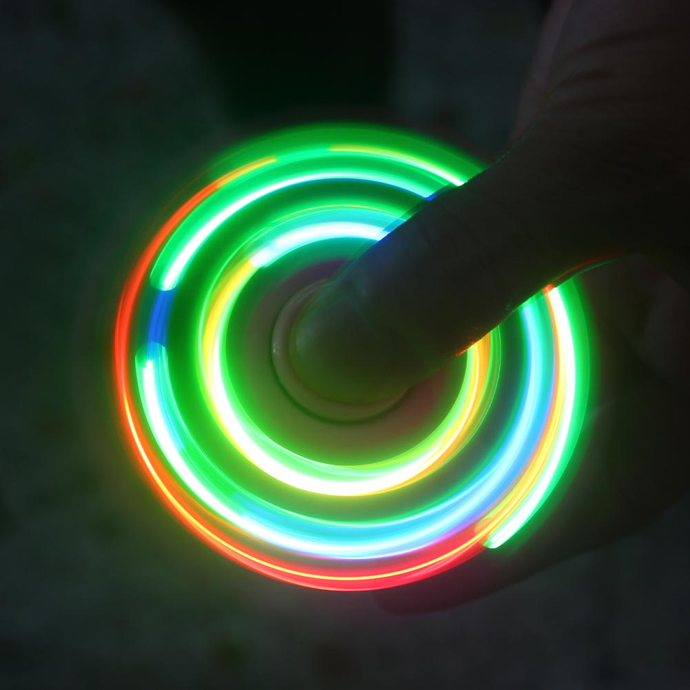1 PC Color Random LED Glowing fingertip Gyro Fidget Toy with switch flashing Finger spinner three-leaf Spinner