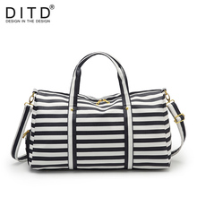 DITD 2019 Women Casual bag lady Fashion stripe Travel Bag PU Leather shoulder Carry on Luggage handBags Bolsa de viaje