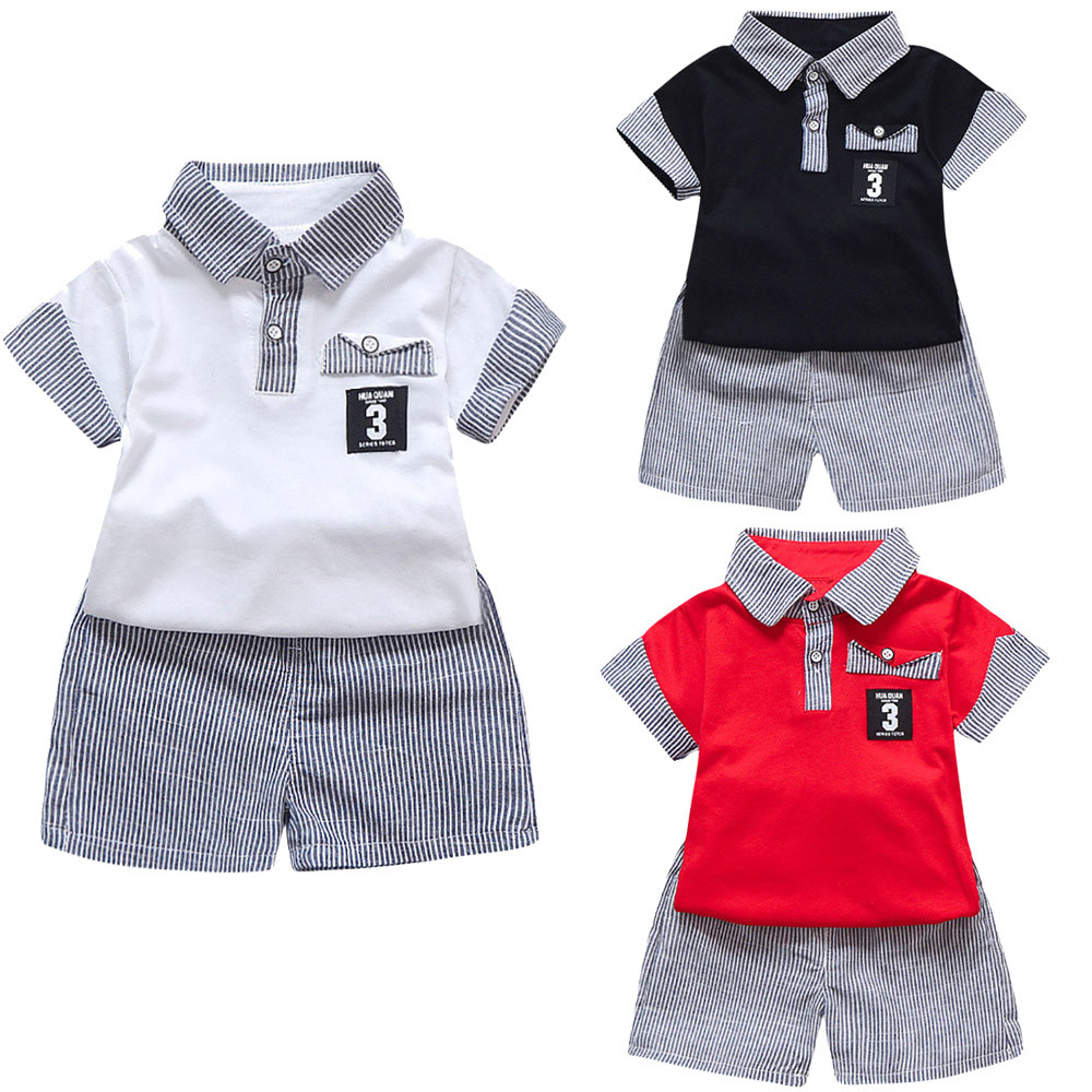 SZYADEOU Summer 2PC Toddler Kids Baby Boy Letter Printed T Shirt Tops+Striped Shorts Outfits Clothes Set Baby Jongens L4