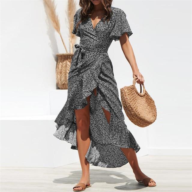 Beach Maxi Dress Women Floral Print Boho Long Chiffon Dress Ruffles Wrap Casual V-Neck Split Sexy Party Dress 46