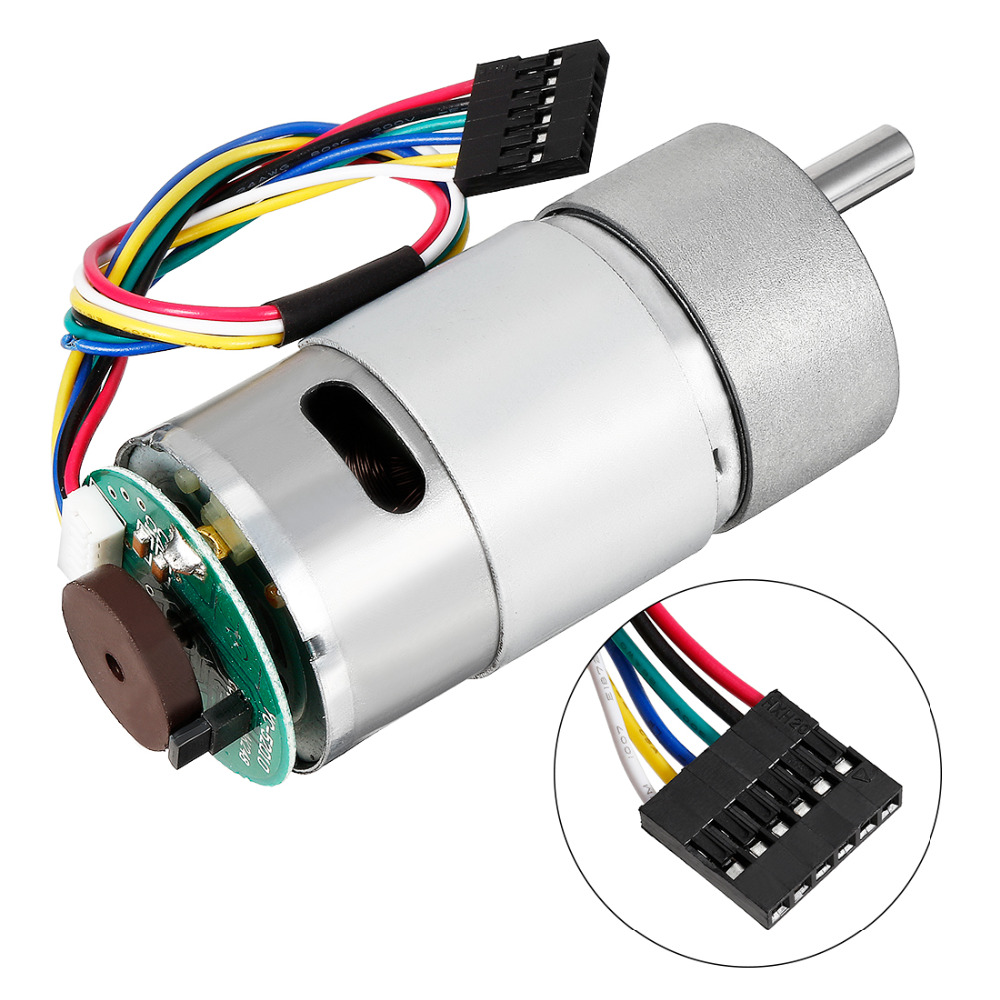 Uxcell Newest 1Pcs Gear Motor with Encoder DC 7/45/500/200RPM 12V D Shaft Metal Encoder Gear Motor Silver 37Dx71L mm