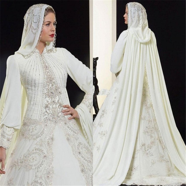 Vestidos High Quality A Line Ivory Chiffon Bridal Wedding Dress Long Sleeve Muslim Gowns With Hijab Arabic